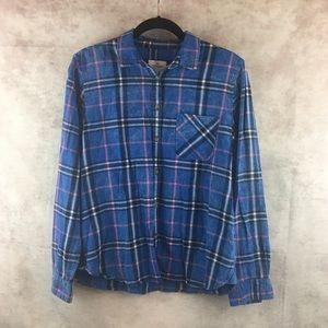 American Eagle Blue Plaid Flannel Shirt